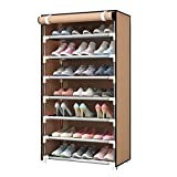 Zapatero Para La Puerta Del Armario,Multi-capa Simple Organizador De Estantes De Zapatos,Espacio-ahorro Pantalla Del Soporte De Zapatos Gabinete De Zapatos Fácil De Instalar-Marrón 60x30x123cm(24x12x4