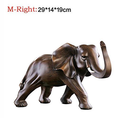 LITAO_AXXB Vintage Elefante Afortunado Estatua Y Escultura Decoración del Hogar Escultura Resina Artesanía Oficina Sala de Estar Feng Shui Elefante Regalo, M-Derecha