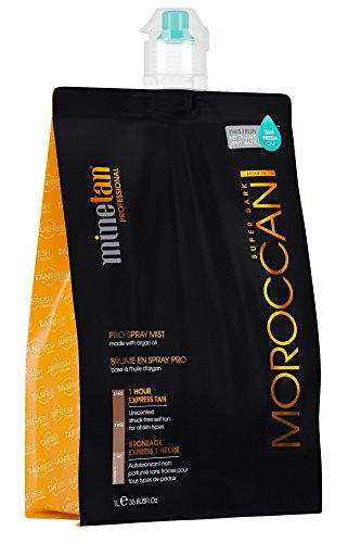 MineTan Spray Tan Solution - My Moroccan Pro Spray Mist - Argan Oil Enriched Salon Professional 1 Hour Express Tan, 33.8 fl oz