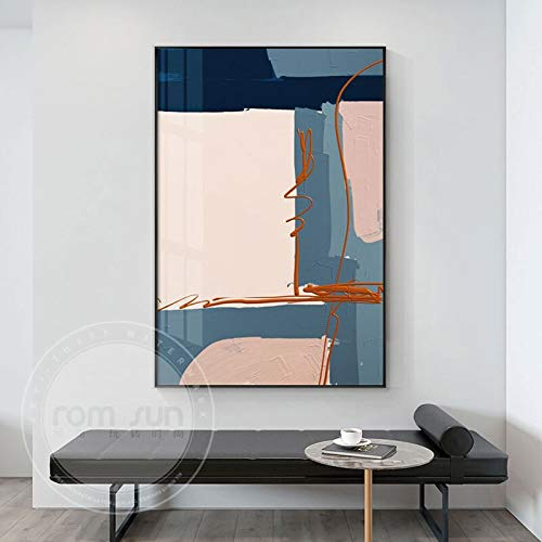 Handaxian Pintura de Color Carne Azul Moderno Pintura Decorativa Abstracta Lienzo Mural Sala de Estar Estudio Artista decoración del hogar 40x60 cm sin Marco