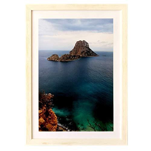 ART&FOTO BARCELONA Marco de Fotos Hecho a Mano 100% Artesanal de Madera y Cristal (Blanco, 21_x_30 cm)
