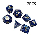 ELECTROPRIME 7pcs Polyhedral Dice Table Blue Dragons Multi Sided Parties for DND RPG