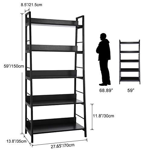 Himimi Industrial Ladder Shelf, 5-Tier Bookshelf, Storage Rack Shelves, Bathroom, Living Room, Wood Look Particle Board Furniture, Metal Frame, Classic Black