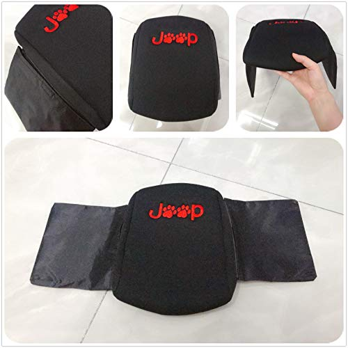 yise-M0001 Style Center Console Cover Armrest Pad with Stroage Bag for 2018-2019 Jeep Wrangler JL JLU 2 Door & 4 Door Dog Paws Print Logo Black & red Upgrade Version