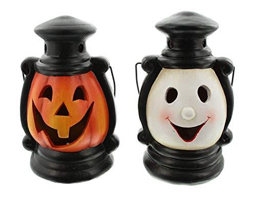 Dekoleidenschaft 2er Set LED Laternen Halloween aus Terracotta, mit Farbwechsel, Kürbis Windlicht