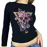 Camiseta corta Y2K para mujer de Halloween con estampado gótico, manga larga, entallada, recortada, para niña, para adultos, con estampado de esqueleto, informal, de los años 90, Negro-K, M