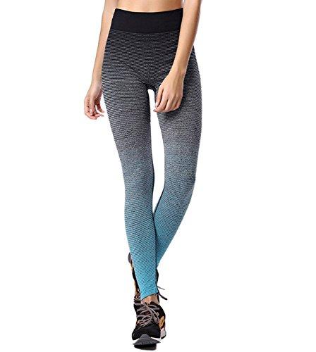 iMixCity Femme Leggings de Sport Pantalons Elastiques Multicolore Fantastique pour Course Yoga Pilate Gymnase (Bleu, EU 40-44 (L))