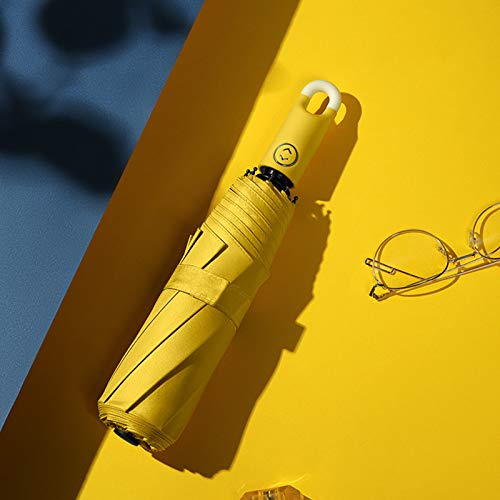 Paraguas plegable automático, llueva o truene, paraguas de sol de rosquilla, paraguas de gancho creativo simple de tres pliegues