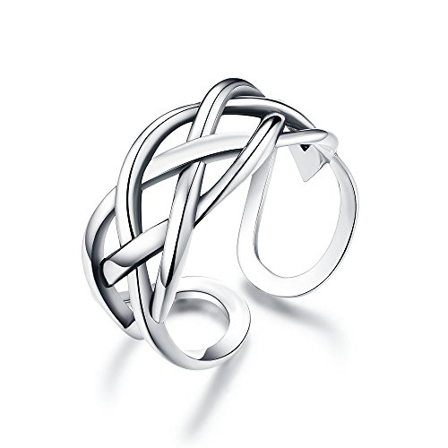 Celtic Love Knot Vintage Ring Sterling Silver Adjustable Antique Rings Open Engagement Band for Women Girls Men (Four Lines)