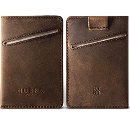Men Wallet - RFID Minimalist Slim Front Pocket Card Travel Holder Clip (One Size, Dark Brown Crazy Horse Leather [CSC-DBCH-RFID])