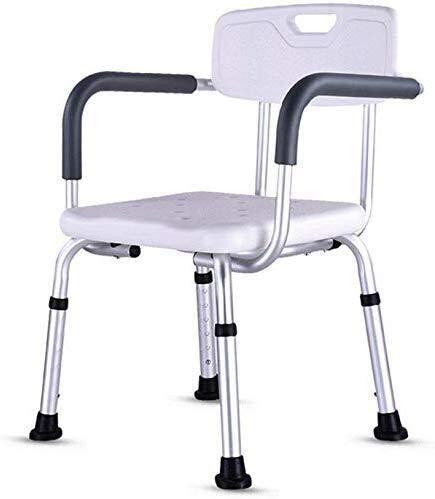 PanYFDD Taburete de ducha Silla de baño Asiento de baño – Aluminio ligero – Fácil instalación – Con respaldo – Personas con movilidad reducida rodamientos blancos