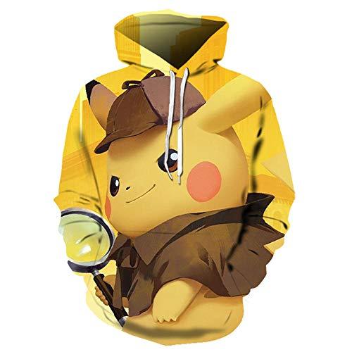 hjbjb Moda Casual Cappotto con Cappuccio Pokemon Pikachu con Cappuccio Animazione 3D Felpa con Cappuccio Coppia Carina Pullover-Lms1304_XL