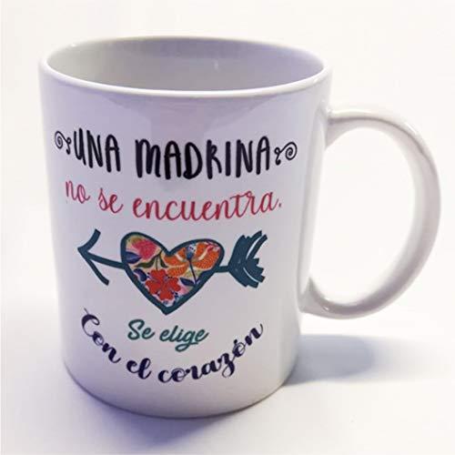 Taza con Frase y dibujo divertido Regalo Madrina Una madrina no se encuentra, se elige con el coraz/ón La mente es maravillosa