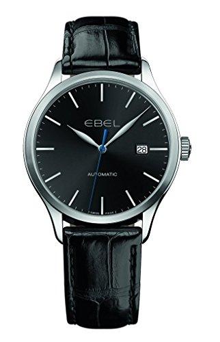 Ebel Classic 100 Automatik-Herren-Armbanduhr, schwarzes Zifferblatt, schwarzes Leder
