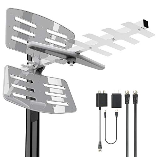 [Latest 2020] Amplified Outdoor TV Antenna- 175Miles HDTV Outdoor Antenna with Pole Mount 2 Signals...