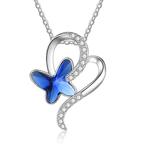 lorajewel Colgantes de Mujer Collar de Mariposa Azul Collares de Plata con 5A Cristales Mujer Joyería para Adolescente/Damas/Mujeres/Niñas/Madre/Abuela