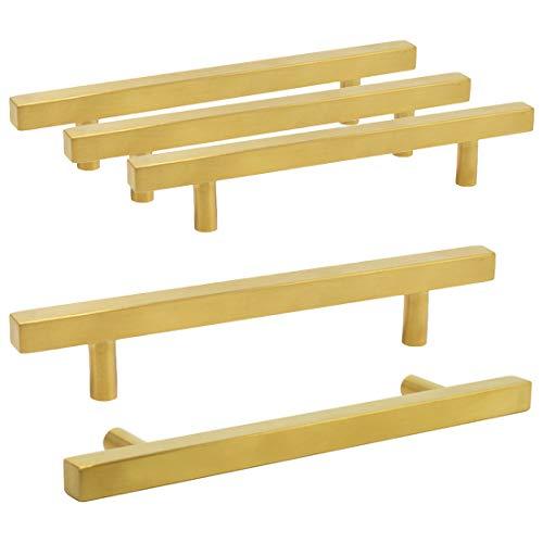 Tirador en forma de T para cocina dormitorio acabado dorado ba/ño 192mm hole centres