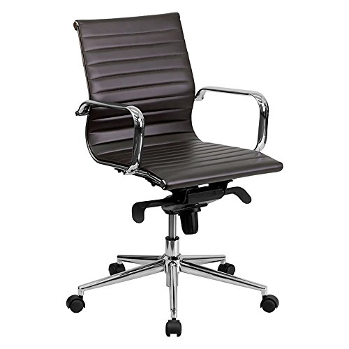 Offex Mid Back Brown Ribbed Upholstered Leather Conference Chair