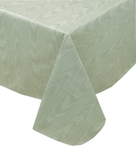 Newbridge Sage Green Moire Wavy Solid Color Print Heavy Gauge Vinyl Flannel Backed Tablecloth, Indoor/Outdoor Tablecloth, (70 Inch Round)