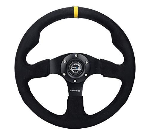 NEW NRG Deep Dish Steering Wheel 350mm Black Leather Fushia Stitch RST-006FH