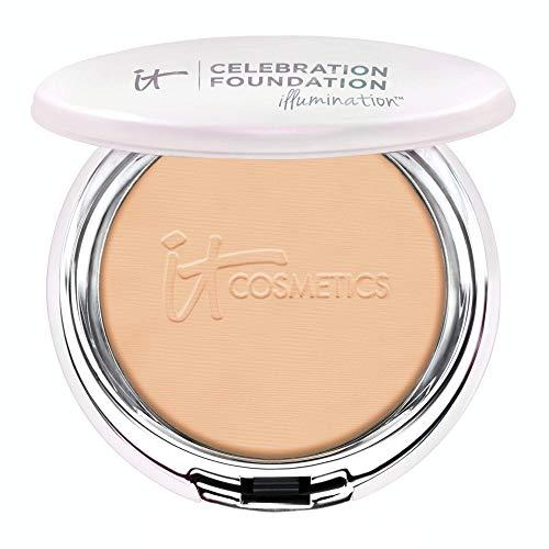 IT Cosmetics Celebration Foundation Illumination, Medium Tan (W) - Full-Coverage, Anti-Aging Powder Foundation - Blurs Pores, Wrinkles & Imperfections - 0.3 oz Compact