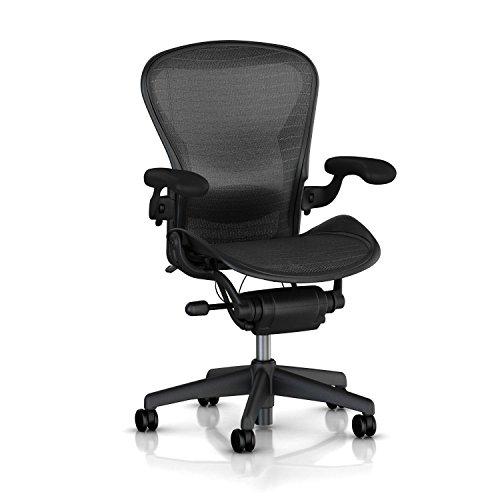 Herman Miller Classic Aeron Task Chair: Tilt Limiter w/Seat Angle Adj - Lumbar Pad - Fully Adj Vinyl Arms - Hard Floor Casters (Renewed)