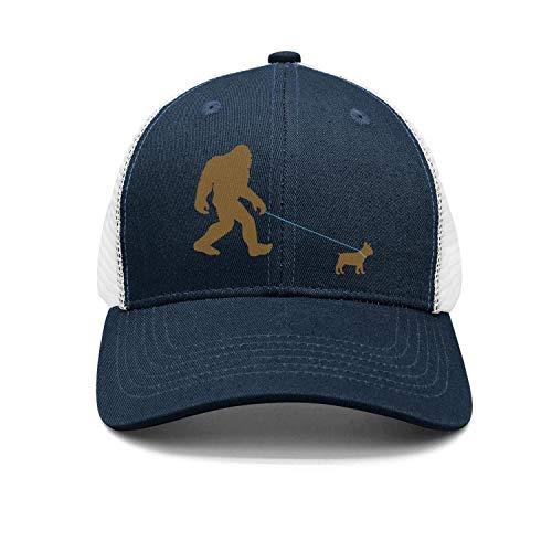 TEKEN Bigfoot Walking French Bulldog Unisex Fashion Mesh Baseball Caps Adjustable Snapback Trucker Hats