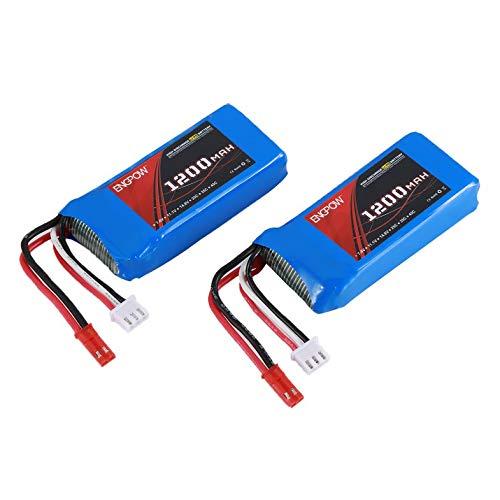 Cloverclover 2PCS Engpow 7.4V 1200mAh 2S Lipo Batería JST Conector para WLtoys RC Drone