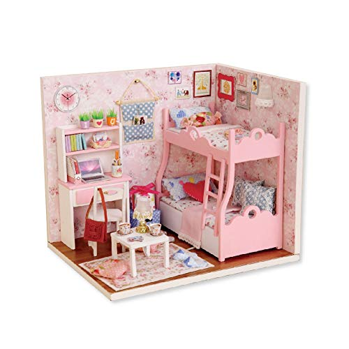 Huairdum Casa de muñecas de Madera, 3 Luces pequeñas Accesorios Ricos Accesorios Ricos Cubierta Protectora Transparente Casa de muñecas de bajo Consumo, Material de Calidad Sala de Estar Segura para