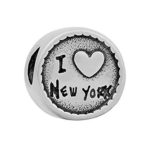 Andante-Stones Abalorio de plata con texto 'I Love New York, I Love New York, I Love New York, bola para pulseras europeas + bolsita de organza