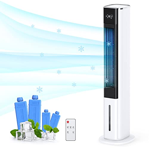Choice Plus Evaporative Air Cooler Swamp Bladeless Tower Fan Cooling Humidifier with Remote Control 3 Wind Mode Speed 45 Oscillating 8H timer Portable Air Conditioner Low Noice for Bedroom Homeoffice