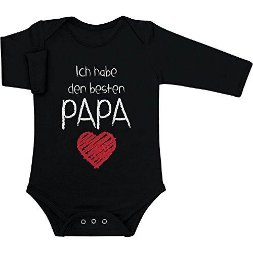 Ich Habe den besten Papa Geschenk für Vater Baby Langarm Body 0-3 Monate Schwarz