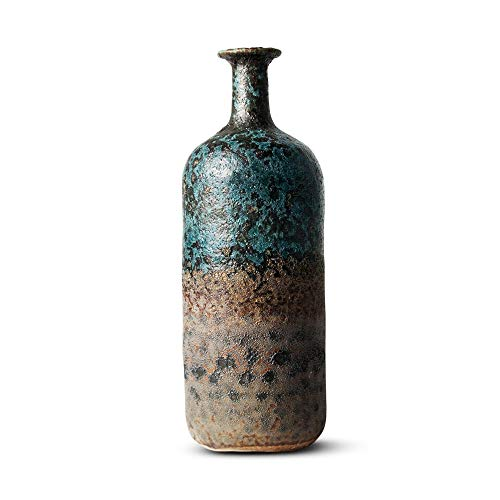 FairyLavie 11.8'' Vintage Ceramic Vase, Rustic Distressed Flower Vase Bottle Decorative Vase, Ideal Tabletop Decoration for Home Office and Party, Indoor and Outdoor Decoration, Perfect Gift Idea