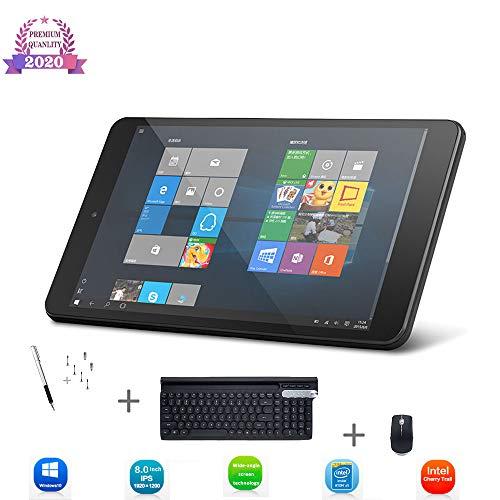 Tablet 8 Zoll Windows 10, WLAN Tablet, 2 GB RAM + 32 GB ROM, Quad Core Prozessor, Bluetooth, zusätzliche kabellose Tastatur, Maus, Empfänger und Touchscreen-Stift