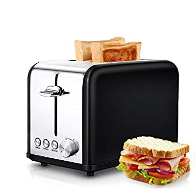 morpilot Toasters 2 Slice with Wide Slot,Toaster with Cancel/REHEAT/DEFROST Function & 6 Browning Settings,2 Slice Toasters, Stainless Steel Toaster Black, Small Toaster for Bread Waffles
