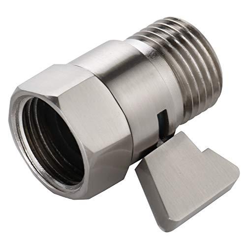 Water Flow Control Shut Off Valve with Brass Adjustable Hand Level Water Pressure Regulator for Hand Held Shower Head & Bidet Sprayer, Brushed Nickel Water Saver G1/2