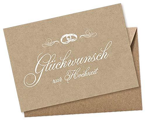 Hochzeitskarte Glückwunschkarte Postkarte: Glückwunsch zur Hochzeit WEIß NATUR mit Ringe Original Kraftpapier Beschreibbar mit weißen Marker, Umschag Braun