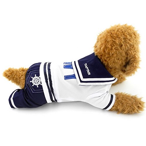 Selmai Costume de capitaine de marin en jean pour garçons et animaux de compagnie Barboteuse pour petits chiens, chats, chiots, chiots, chihuahua, yorkshire, vêtements de marche en plein air XL