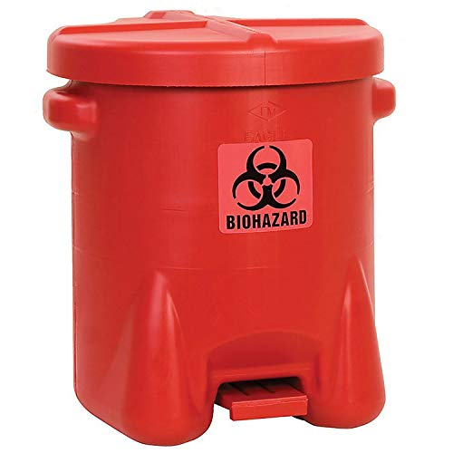 14 Gallon Safety Biohazardous Waste Can, Red