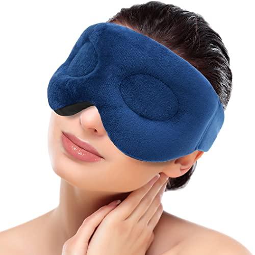 ICEHOF Antifaz para dormir cálido con lavanda, aromaterapia y ultra suave, para microondas, almohadillas para los ojos, máscara térmica, gafas de calor, relleno de perlas de arcilla natural