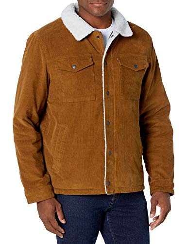 Levi's Men's Corduroy Sherpa Lined Trucker Jacket (Standard and Big & Tall), Brown, Large