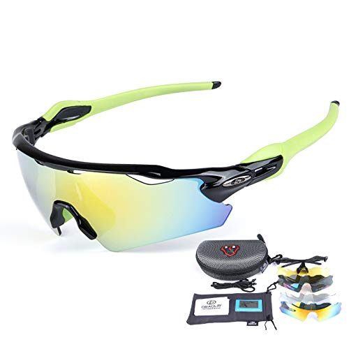 ZYQDRZ Gafas Deportivas Polarizadas para Ciclismo, Gafas para Bicicleta, con 5 Lentes Intercambiables, Utilizadas para Deportes De Pesca, Conducción Y Ciclismo Al Aire Libre,Black a