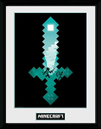 Minecraft 1art1 Diamond Sword Gerahmtes Bild Mit Edlem Passepartout   Wand-Bilder   Kunstdruck Poster Im Bilderrahmen 40 x 30 cm