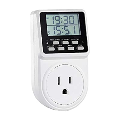 Techbee Digital Infinite Repeat Cycle Plug Timer Switch with Countdown and 24 Hour Programmalbe Timer for Electrical Outlets, Lights and Home Appliances (120V, 15A)