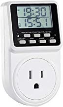 Digital Infinite Repeat Cycle Plug Timer Switch with Countdown and 24 Hour Programmalbe Timer for Electrical Outlets, Lights and Home Appliances (120V, 15A)