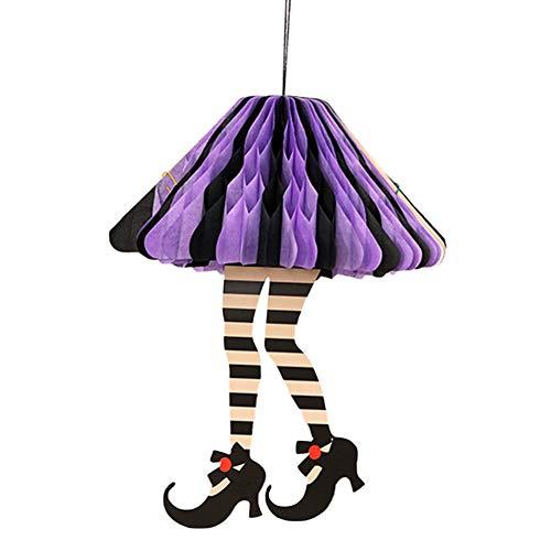 Keemov Decorazione fai da te per strega di Halloween per feste di Halloween, ghirlanda di carta, ghirlande, decorazione per Halloween Viola