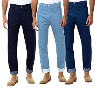 Andora Side-Pocket Front-Button Straight Cut Jeans for Men - 3 Pieces - Multi Color, 38