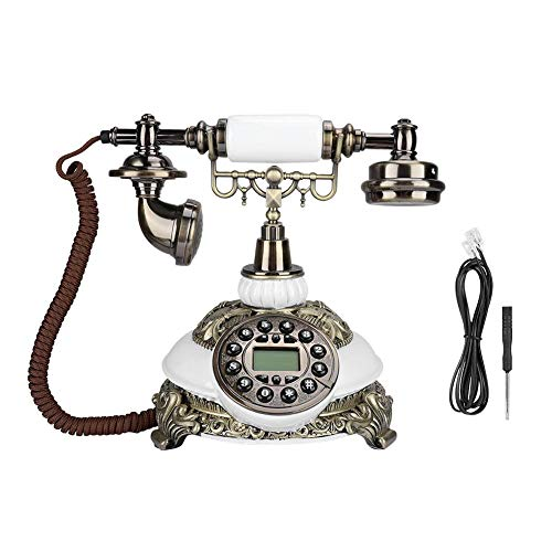 Tosuny Corded Phone, Wired Telephone IDS-8646C Upgrade Edition Classical Wood European Vintage Antique Telephone with Speakerphone with Caller ID