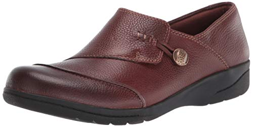 Clarks womens Cheyn Misha Loafer Flat, Dark Tan Leather, 8.5 Wide US