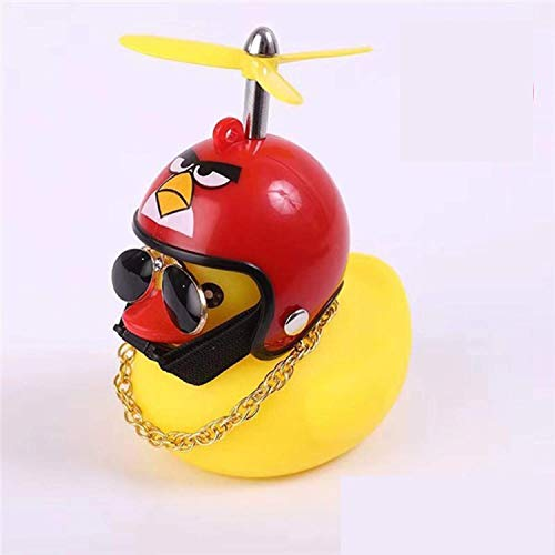 coofo Rubber Duck Toy Car Ornaments,Yellow Duck Car Dashboard Decorations with Propeller Helmet Toys for Adults Women Men Childs  (Angry Bird)